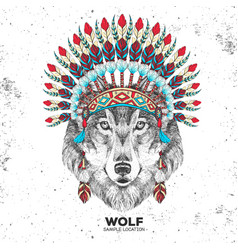 Hipster animal wolf with indian feather headdress vector