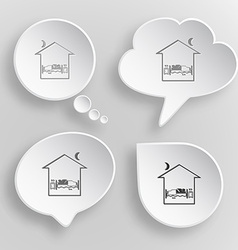 Home bedroom White flat buttons on gray background vector