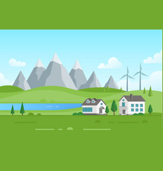 Housing estate with windmills by the lake - modern vector
