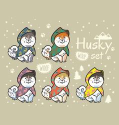 Husky puppies set in colorful raincoats cartoon vector