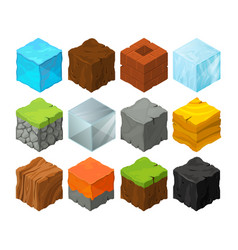 isometric blocks with different texture for 3d vector image