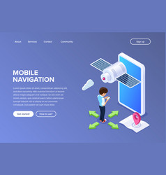 isometric flat mobile navigation concept person vector image