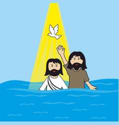 John baptist baptizing jesus christ vector