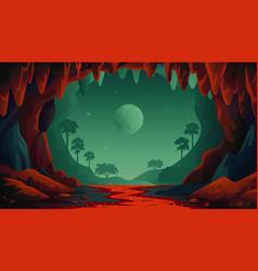 Jungle landscape cave landscape vector