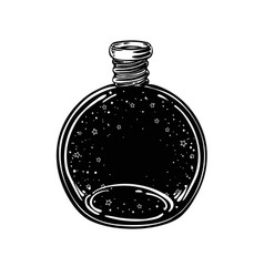 Magic potion black bottle with moon and stars vector