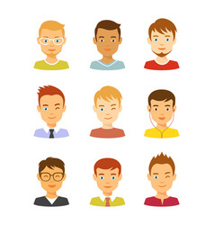 man avatar icons set male avatars vector image