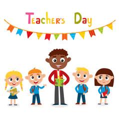 man teacher and pupils vector image