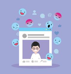 man website social media and emojis vector image