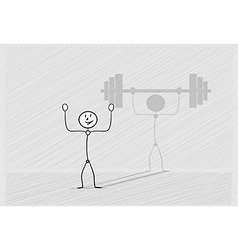 Man with shadow dumbbell vector
