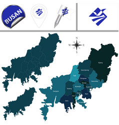 Map of busan with districts south korea vector