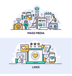 Mass media and social network likes banner vector