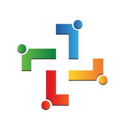 medical cross teamwork people icon vector image