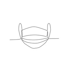 medical mask one line drawing on white background vector image