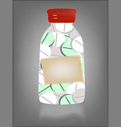 medicine pill in transparent bottle vector image