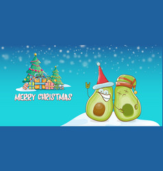 Merry christmas funky greeting horizontal vector