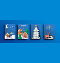 merry christmas papercut winter landscape card set vector image