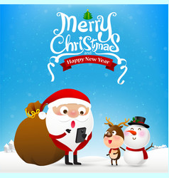 Merry christmas text and santa claus cartoon vector