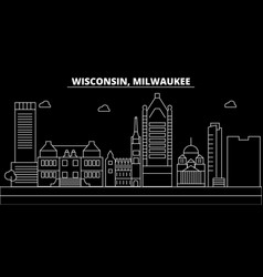 milwaukee city silhouette skyline usa - milwaukee vector image