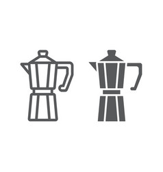 Moka pot line and glyph icon coffee and cafe vector