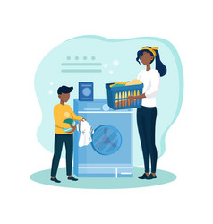 mother teaches son how to wash clothes vector image
