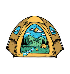 Mountain view inside my tent vector