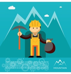 mountain worker with pick and sack gold vector image