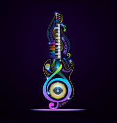 musical instruments collage for rock jazz blues vector image