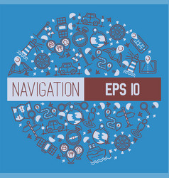 navigation pattern travel map road location vector image