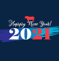 new year background with numbers and bull vector image