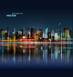 Night city skyline with reflection on water vector
