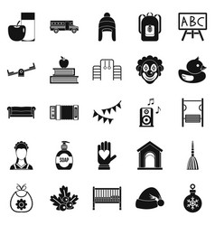 Nursery school icons set simple style vector