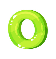 O green glossy bright english letter kids font vector