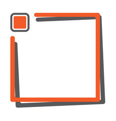 Orange square frame with button for your text vector