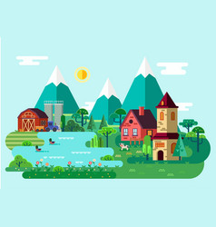 panorama or scene of village at summercountryside vector image