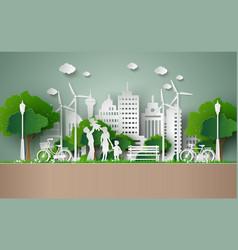 Paper cut of eco concept vector