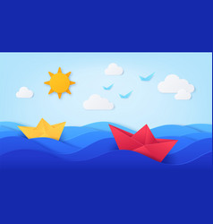 paper sea with boats origami with ocean waves vector image