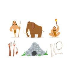 prehistoric stone age set primitive people vector image