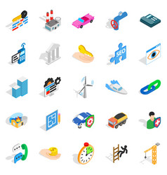 Private company icons set isometric style vector