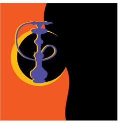 purple silhouette hookah vector image