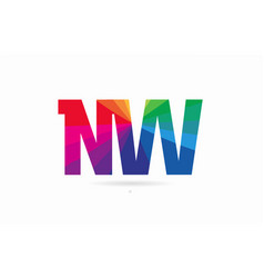 rainbow colored alphabet combination letter nw n vector image