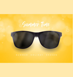 Realistic sunglasses on blue background vacations vector