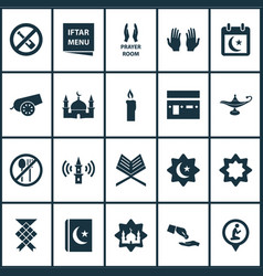 Religion icons set collection of koran holy book vector