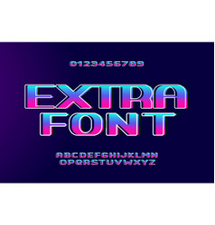 retro wave bold font with holographic glow effect vector image