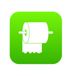 roll of toilet paper on holder icon digital green vector image