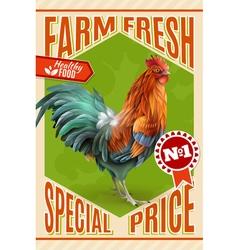 Rooster Farm Sale Offer Vintage Poster vector