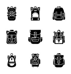 Rucksack icons set simple style vector