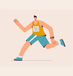 Runner runs marathon athlete in sportswear vector