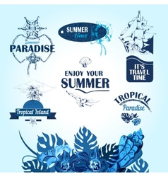 sea travel labels vector image