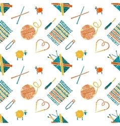Seamless pattern on a knitting theme accessories vector
