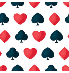 seamless pattern with four playing cards symbols vector image